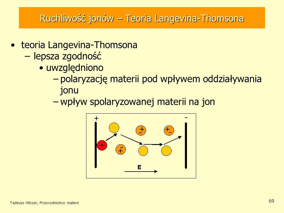 Tadeusz Hilczer, Przewodnictwo materii 69 teoria Langevina-Thomsona –lepsza zgodność uwzględniono –polaryzację materii pod wpływem oddziaływania jonu