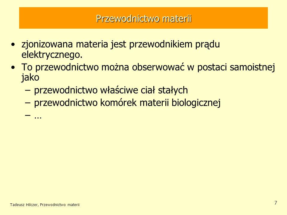 Tadeusz Hilczer, Przewodnictwo materii 7 zjonizowana materia jest przewodnikiem prądu elektrycznego. To przewodnictwo można obserwować w postaci samoi