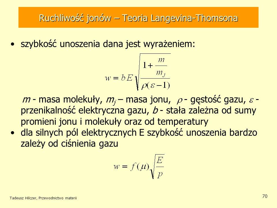 Tadeusz Hilczer, Przewodnictwo materii 70 szybkość unoszenia dana jest wyrażeniem: m - masa molekuły, m j – masa jonu, - gęstość gazu, - przenikalność