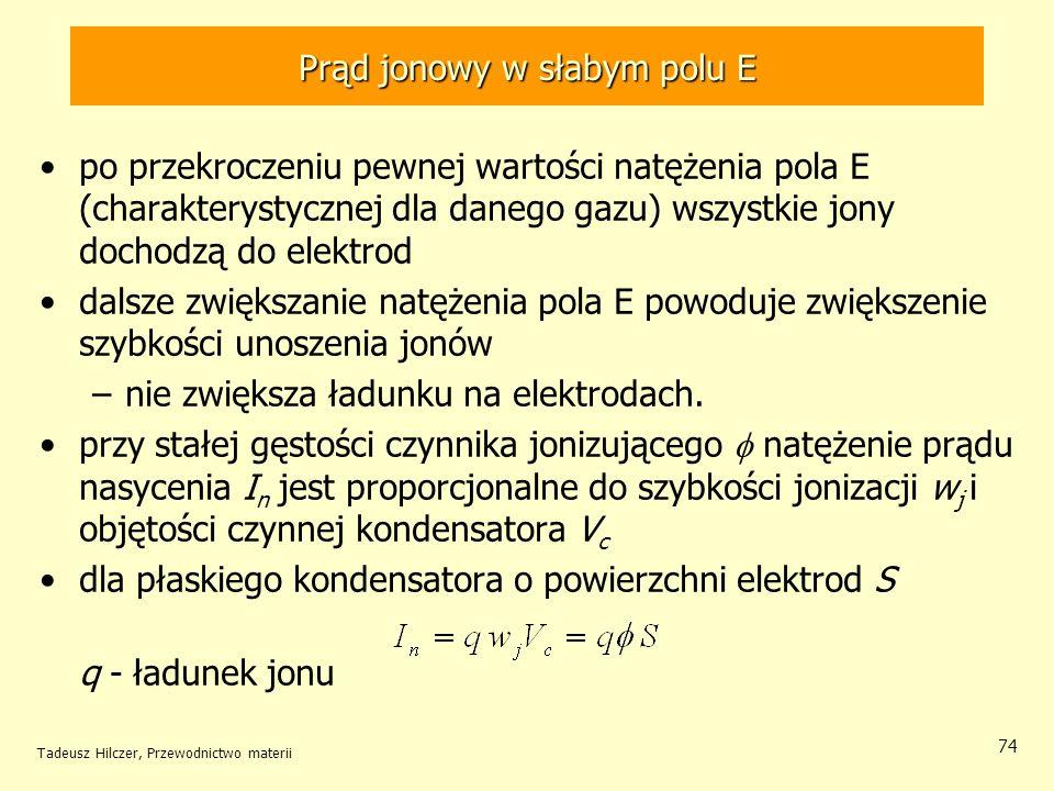 Tadeusz Hilczer, Przewodnictwo materii 74 po przekroczeniu pewnej wartości natężenia pola E (charakterystycznej dla danego gazu) wszystkie jony dochod