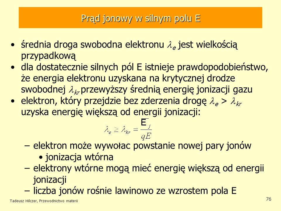 Tadeusz Hilczer, Przewodnictwo materii 76 średnia droga swobodna elektronu e jest wielkością przypadkową dla dostatecznie silnych pól E istnieje prawd
