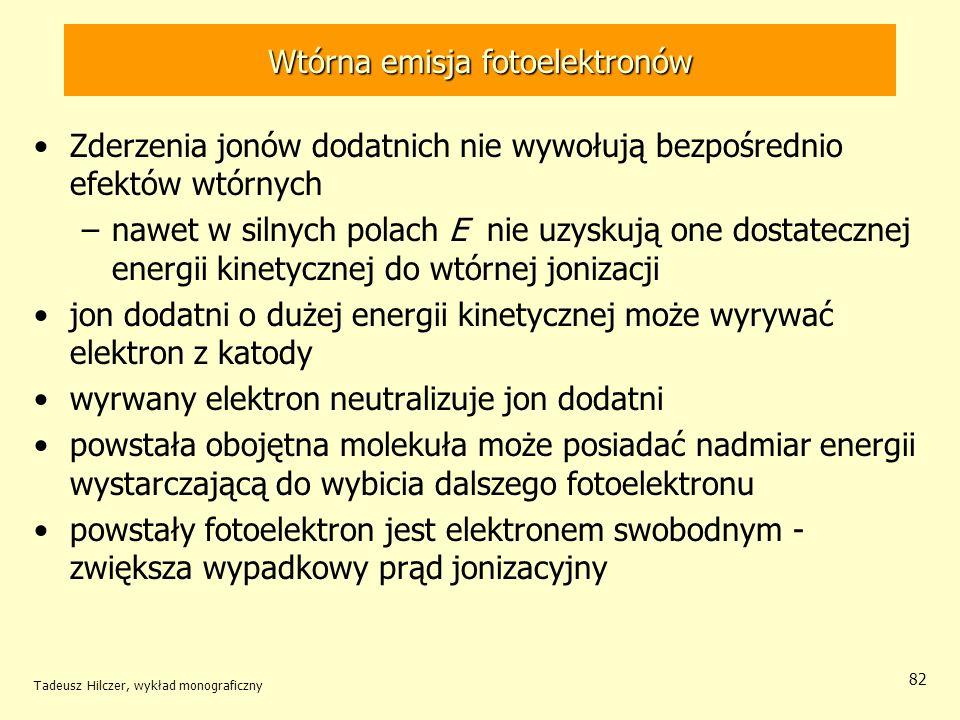 Wtórna emisja fotoelektronów Zderzenia jonów dodatnich nie wywołują bezpośrednio efektów wtórnych –nawet w silnych polach E nie uzyskują one dostatecz