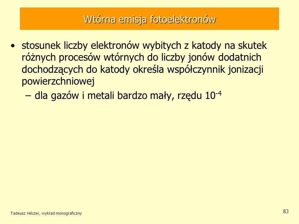 Wtórna emisja fotoelektronów stosunek liczby elektronów wybitych z katody na skutek różnych procesów wtórnych do liczby jonów dodatnich dochodzących d