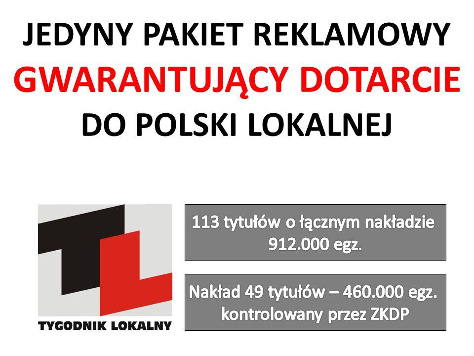 SKUTECZNE DOTARCIE DO POLSKI LOKALNEJ Pakiet TL ZKDP obejmuje 49 tytułów, których nakład jest kontrolowany przez ZKDP i wynosi 460.000 egz.