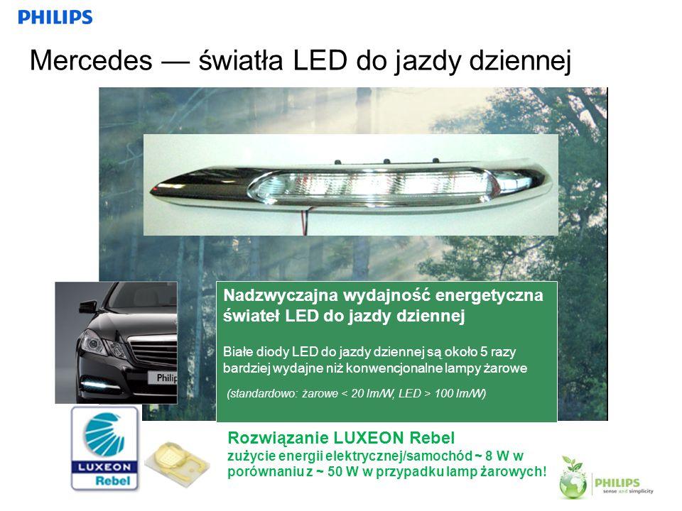 22 Mercedes światła LED do jazdy dziennej Nadzwyczajna wydajność energetyczna świateł LED do jazdy dziennej Białe diody LED do jazdy dziennej są około