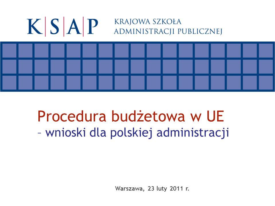 Warszawa, 23 luty 2011 r. Procedura budżetowa w UE – wnioski dla polskiej administracji
