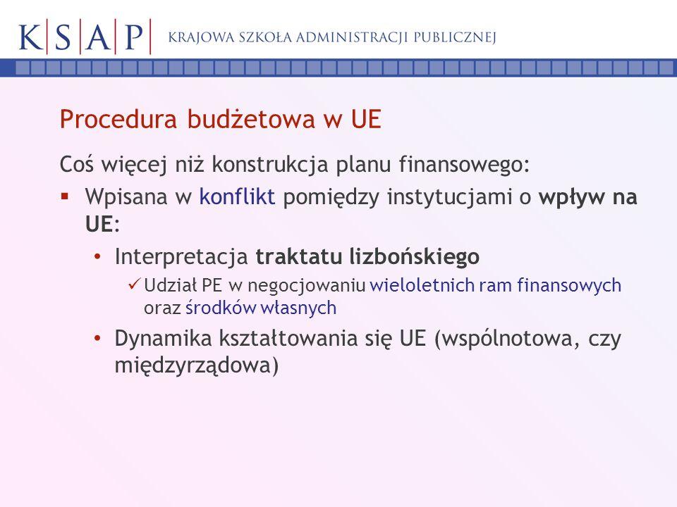 Procedura budżetowa w UE Coś więcej niż konstrukcja planu finansowego: Wpisana w konflikt pomiędzy instytucjami o wpływ na UE: Interpretacja traktatu lizbońskiego Udział PE w negocjowaniu wieloletnich ram finansowych oraz środków własnych Dynamika kształtowania się UE (wspólnotowa, czy międzyrządowa)