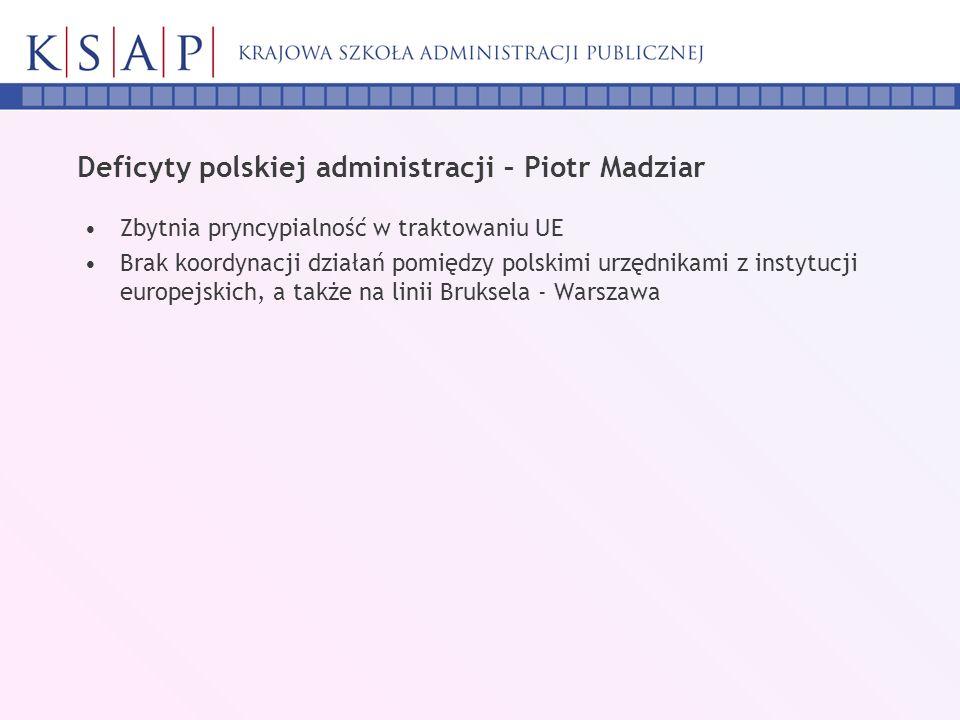 Deficyty polskiej administracji – Piotr Madziar Zbytnia pryncypialność w traktowaniu UE Brak koordynacji działań pomiędzy polskimi urzędnikami z insty