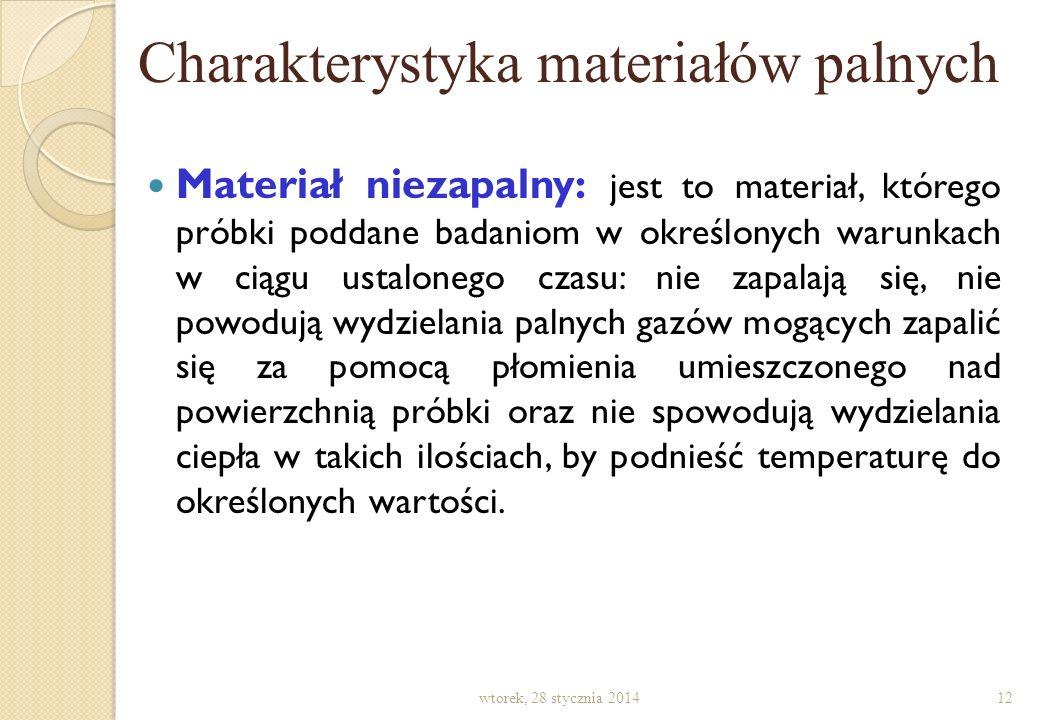 Charakterystyka materiałów palnych wtorek, 28 stycznia 201411 Łatwo zapalny: jego znormalizowana próbka w określonych warunkach poddana działaniu płom