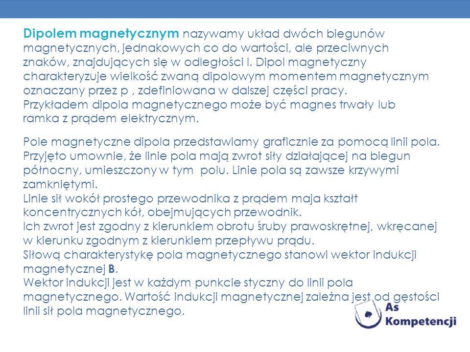 Dipolem magnetycznym nazywamy układ dwóch biegunów magnetycznych, jednakowych co do wartości, ale przeciwnych znaków, znajdujących się w odległości l.
