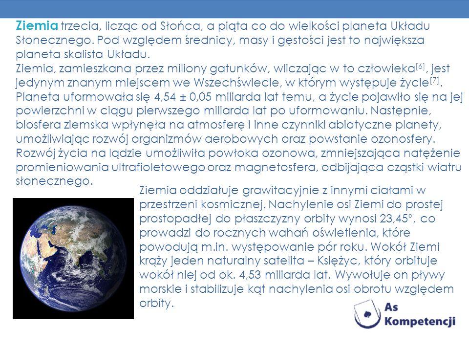Ziemia trzecia, licząc od Słońca, a piąta co do wielkości planeta Układu Słonecznego. Pod względem średnicy, masy i gęstości jest to największa planet