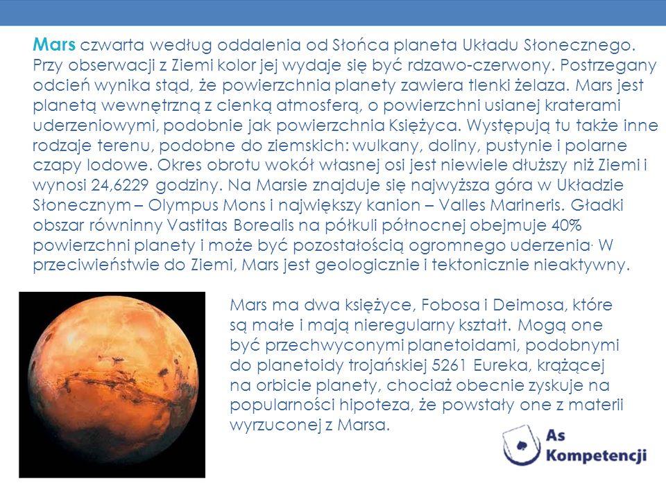 Mars czwarta według oddalenia od Słońca planeta Układu Słonecznego. Przy obserwacji z Ziemi kolor jej wydaje się być rdzawo-czerwony. Postrzegany odci