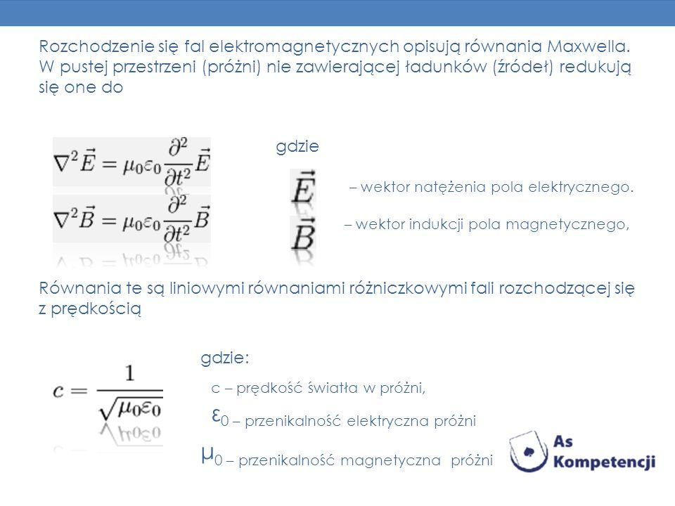 Rozchodzenie się fal elektromagnetycznych opisują równania Maxwella. W pustej przestrzeni (próżni) nie zawierającej ładunków (źródeł) redukują się one