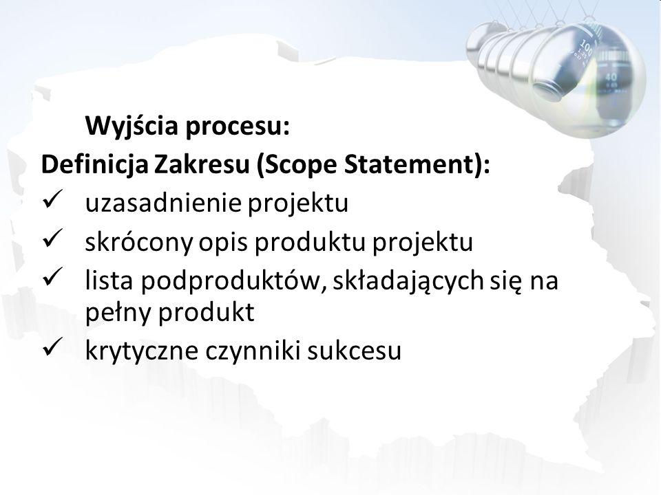 Wyjścia procesu: Definicja Zakresu (Scope Statement): uzasadnienie projektu skrócony opis produktu projektu lista podproduktów, składających się na pe