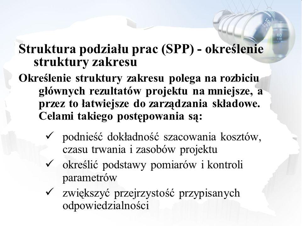 Struktura podziału prac (SPP) - określenie struktury zakresu Określenie struktury zakresu polega na rozbiciu głównych rezultatów projektu na mniejsze,