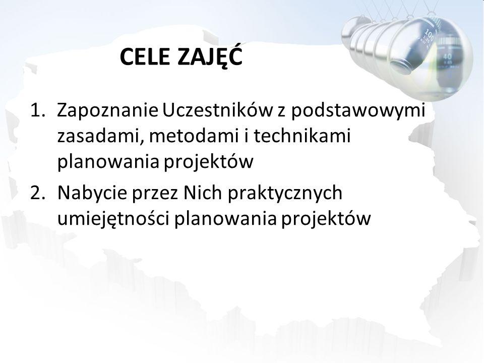 CELE ZAJĘĆ 1.Zapoznanie Uczestników z podstawowymi zasadami, metodami i technikami planowania projektów 2.Nabycie przez Nich praktycznych umiejętności