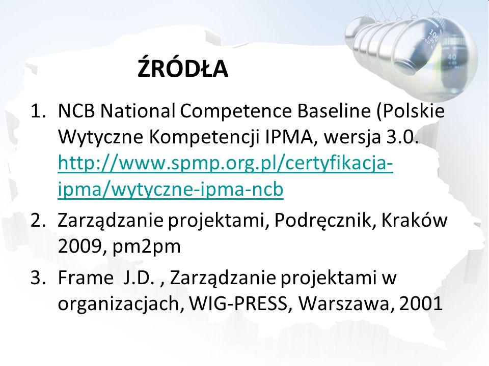 ŹRÓDŁA 1.NCB National Competence Baseline (Polskie Wytyczne Kompetencji IPMA, wersja 3.0. http://www.spmp.org.pl/certyfikacja- ipma/wytyczne-ipma-ncb