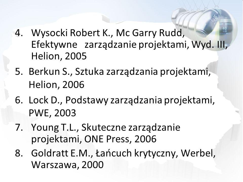 4.Wysocki Robert K., Mc Garry Rudd, Efektywne zarządzanie projektami, Wyd. III, Helion, 2005 5.Berkun S., Sztuka zarządzania projektami, Helion, 2006