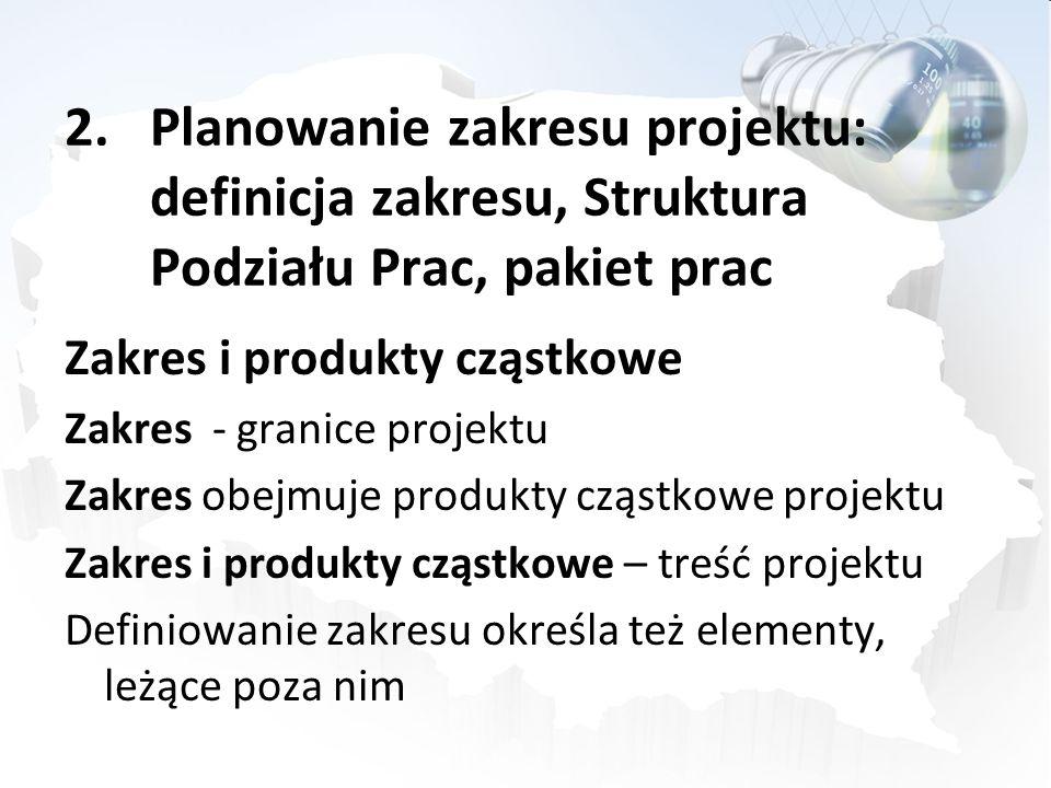 2.Planowanie zakresu projektu: definicja zakresu, Struktura Podziału Prac, pakiet prac Zakres i produkty cząstkowe Zakres - granice projektu Zakres ob