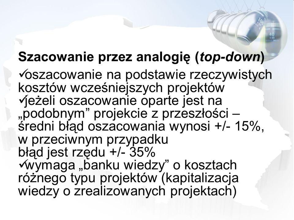 Szacowanie przez analogię (top-down) oszacowanie na podstawie rzeczywistych kosztów wcześniejszych projektów jeżeli oszacowanie oparte jest na podobny