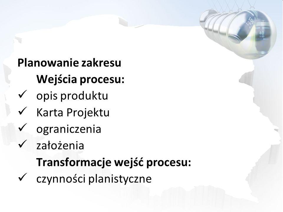 Wyjścia procesu: Definicja Zakresu (Scope Statement): uzasadnienie projektu skrócony opis produktu projektu lista podproduktów, składających się na pełny produkt krytyczne czynniki sukcesu