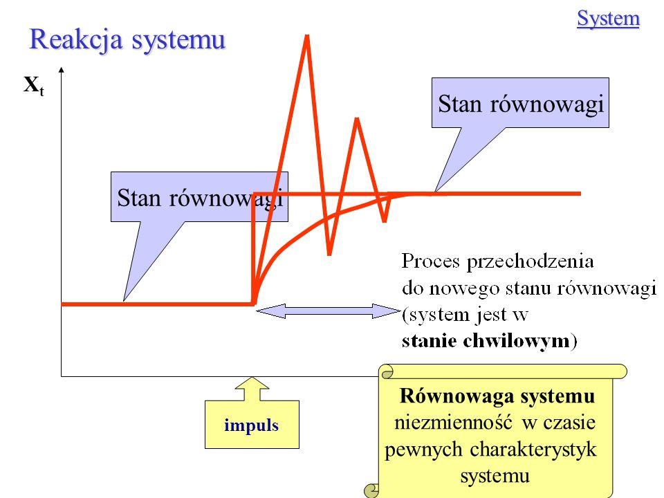 Reakcja systemu System impuls XtXt t Stan równowagi Równowaga systemu niezmienność w czasie pewnych charakterystyk systemu