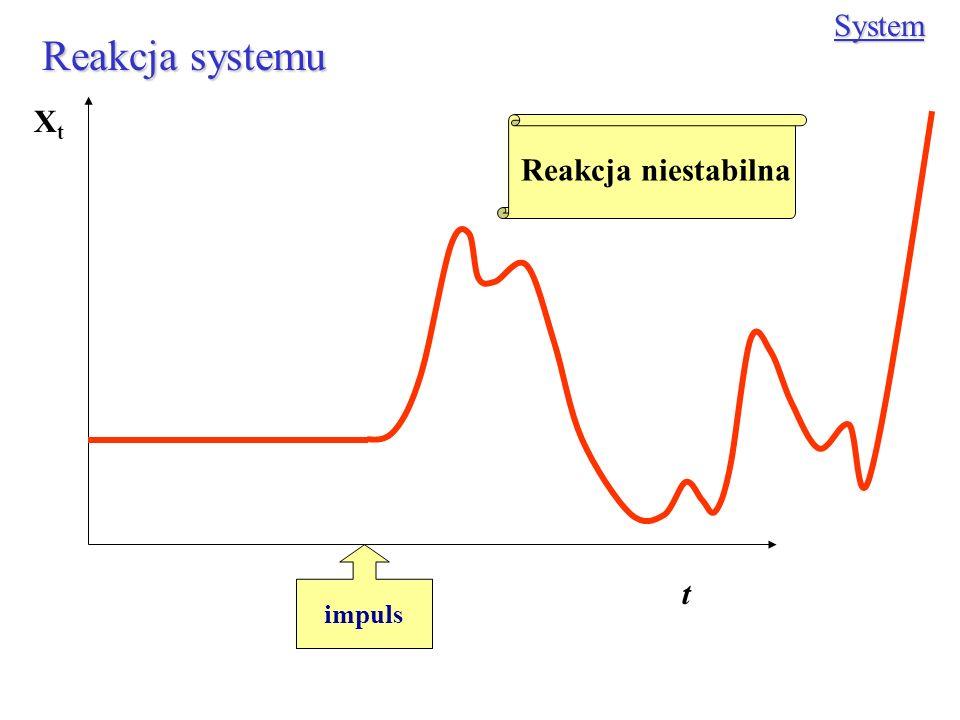 Reakcja systemu System impuls XtXt t Reakcja niestabilna