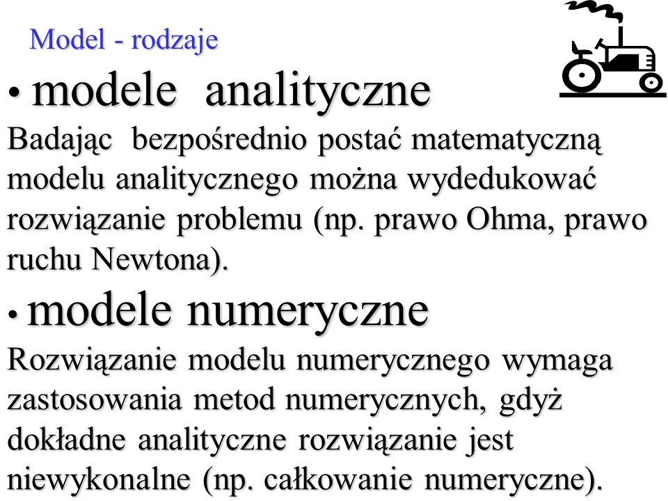 Model - rodzaje modele analityczne Badając bezpośrednio postać matematyczną modelu analitycznego można wydedukować rozwiązanie problemu (np. prawo Ohm