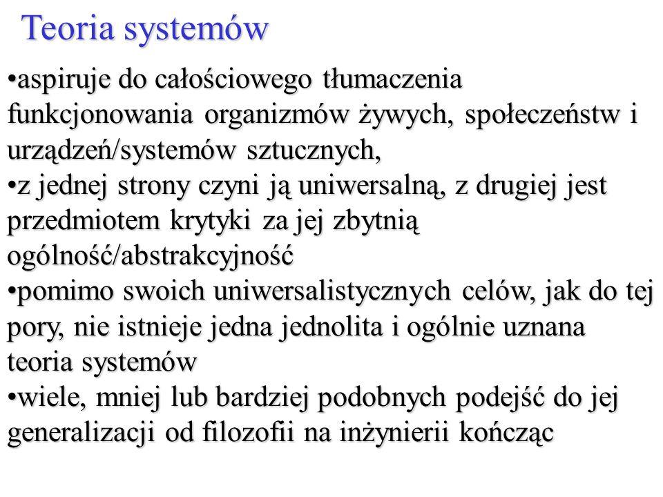 aspiruje do całościowego tłumaczenia funkcjonowania organizmów żywych, społeczeństw i urządzeń/systemów sztucznych,aspiruje do całościowego tłumaczeni