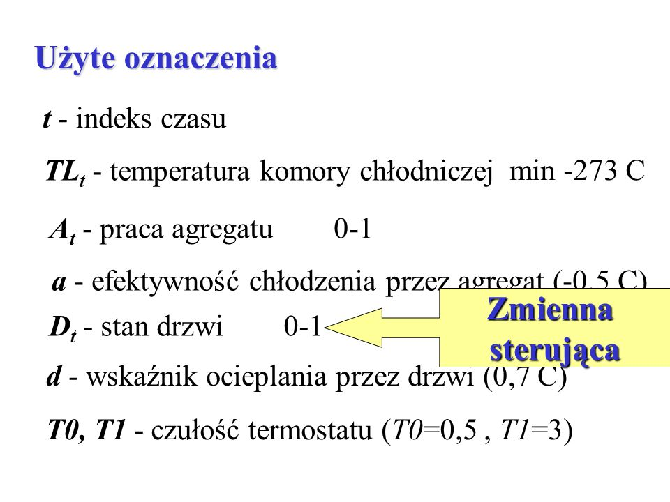 Użyte oznaczenia t - indeks czasu TL t - temperatura komory chłodniczej min -273 C A t - praca agregatu 0-1 a - efektywność chłodzenia przez agregat (