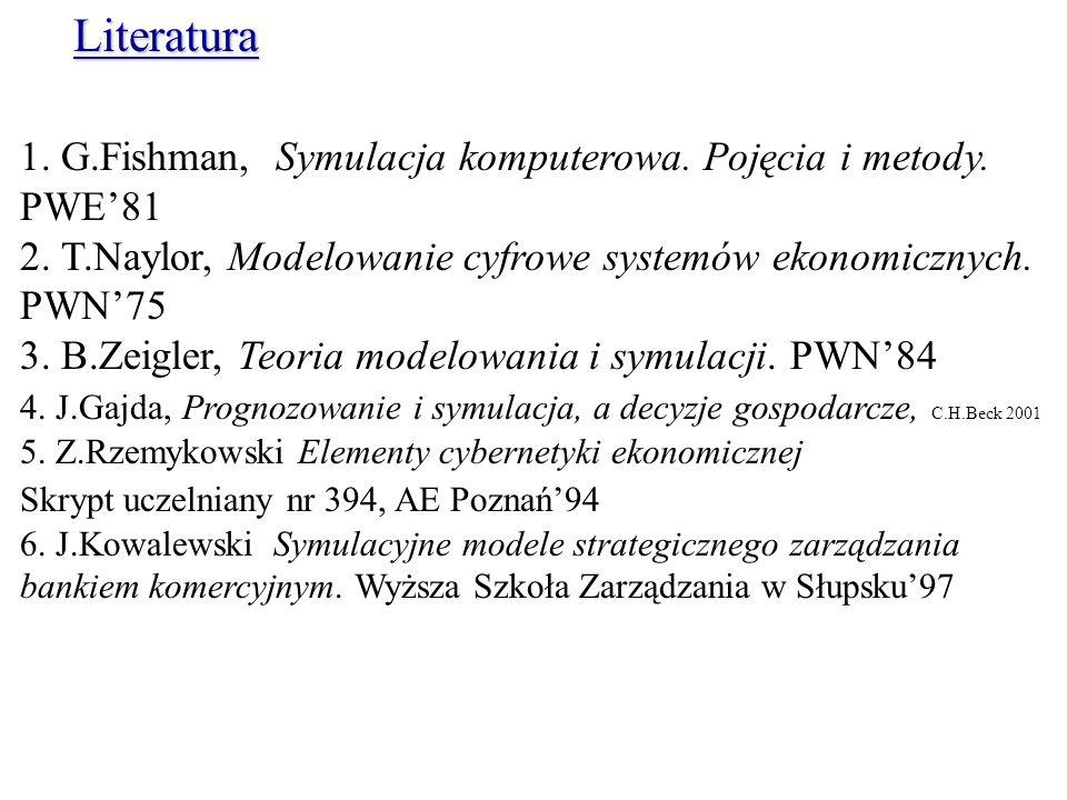 1. G.Fishman, Symulacja komputerowa. Pojęcia i metody. PWE81 2. T.Naylor, Modelowanie cyfrowe systemów ekonomicznych. PWN75 3. B.Zeigler, Teoria model