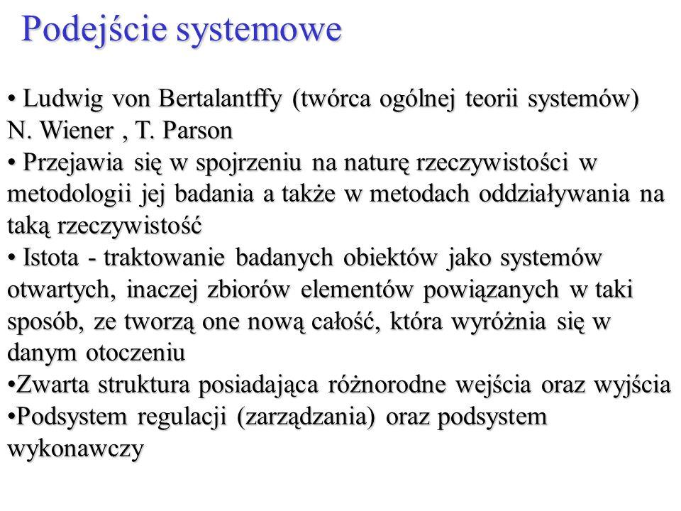 Ludwig von Bertalantffy (twórca ogólnej teorii systemów) N. Wiener, T. Parson Ludwig von Bertalantffy (twórca ogólnej teorii systemów) N. Wiener, T. P