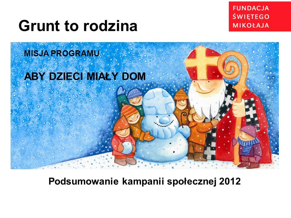 Podsumowanie kampanii społecznej 2012 Grunt to rodzina MISJA PROGRAMU ABY DZIECI MIAŁY DOM