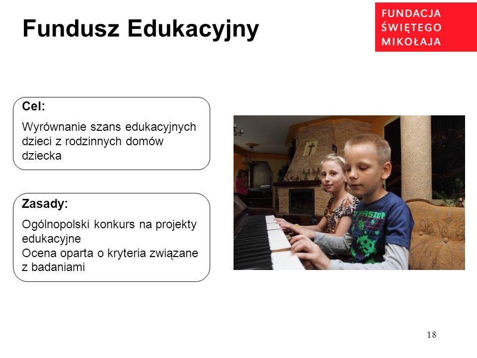 18 Fundusz Edukacyjny Cel: Wyrównanie szans edukacyjnych dzieci z rodzinnych domów dziecka Zasady: Ogólnopolski konkurs na projekty edukacyjne Ocena o