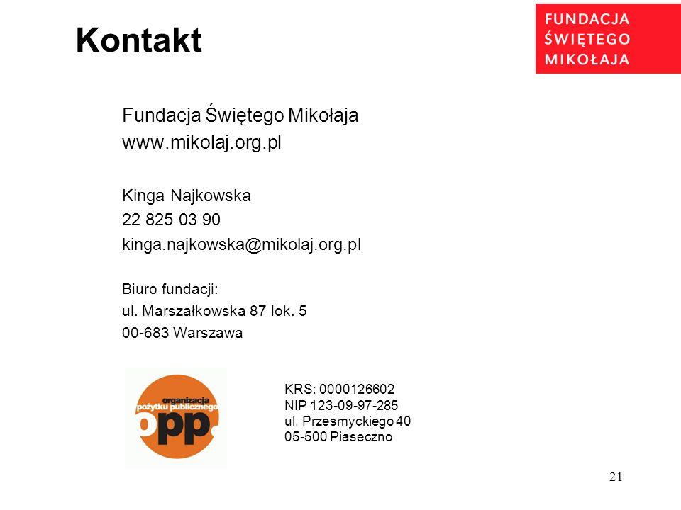 21 Kontakt Fundacja Świętego Mikołaja www.mikolaj.org.pl Kinga Najkowska 22 825 03 90 kinga.najkowska@mikolaj.org.pl Biuro fundacji: ul. Marszałkowska
