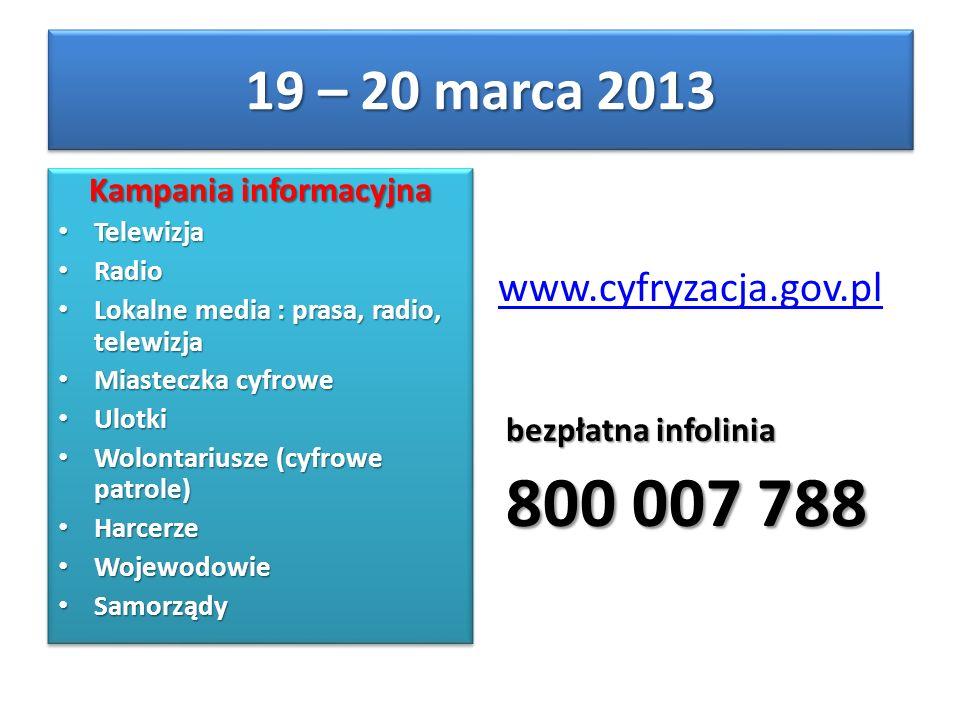 Kampania informacyjna Telewizja Telewizja Radio Radio Lokalne media : prasa, radio, telewizja Lokalne media : prasa, radio, telewizja Miasteczka cyfro