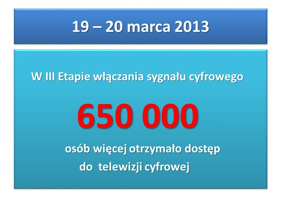 W III Etapie włączania sygnału cyfrowego W III Etapie włączania sygnału cyfrowego 650 000 650 000 osób więcej otrzymało dostęp osób więcej otrzymało d