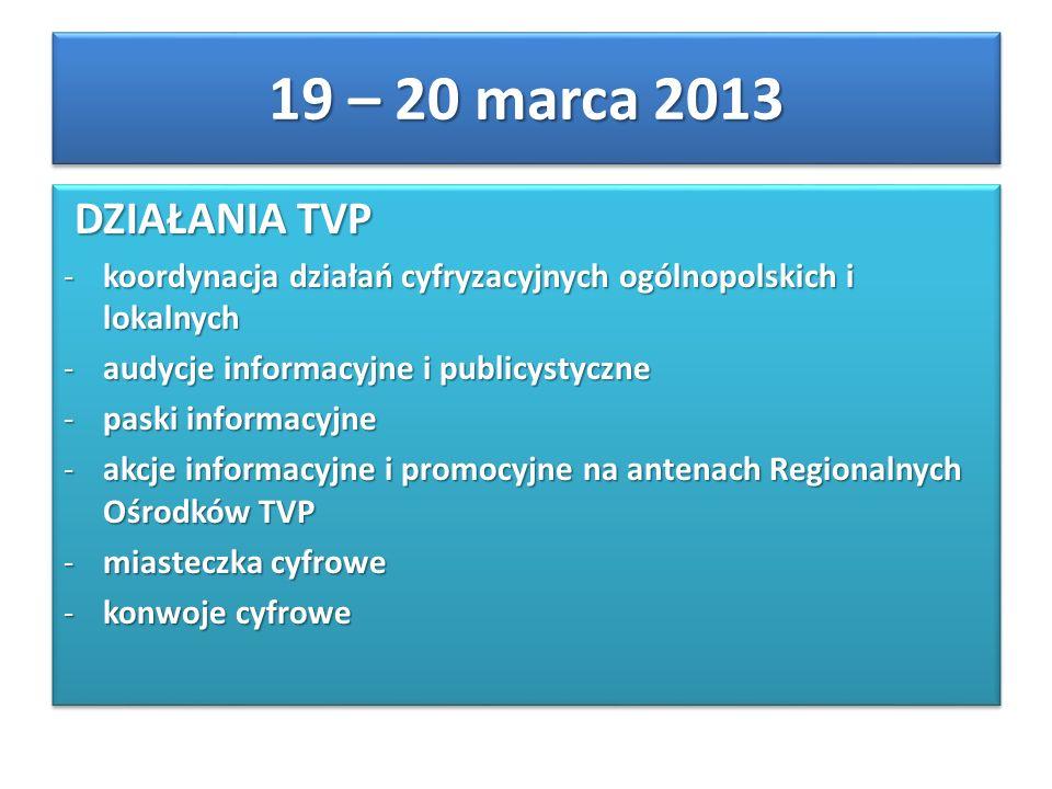 DZIAŁANIA TVP DZIAŁANIA TVP -koordynacja działań cyfryzacyjnych ogólnopolskich i lokalnych -audycje informacyjne i publicystyczne -paski informacyjne