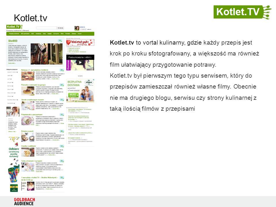 Kotlet.tv Kotlet.tv to vortal kulinarny, gdzie każdy przepis jest krok po kroku sfotografowany, a większość ma również film ułatwiający przygotowanie