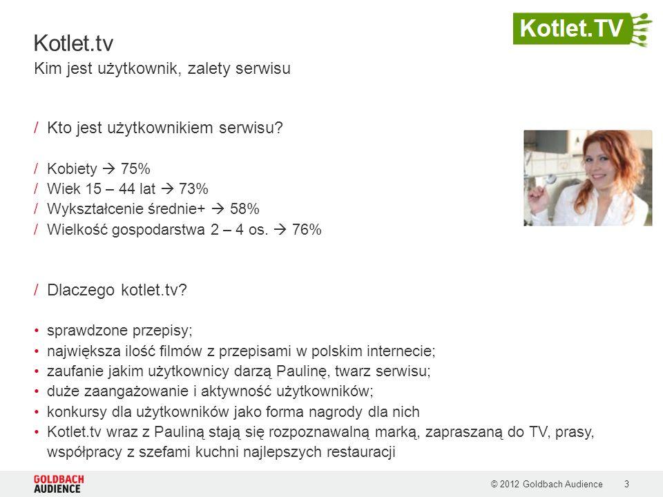 Kotlet.tv © 2012 Goldbach Audience3 /Kto jest użytkownikiem serwisu? /Kobiety 75% /Wiek 15 – 44 lat 73% /Wykształcenie średnie+ 58% /Wielkość gospodar
