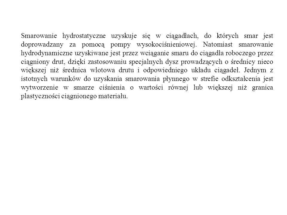 Smarowanie hydrostatyczne uzyskuje się w ciągadłach, do których smar jest doprowadzany za pomocą pompy wysokociśnieniowej. Natomiast smarowanie hydrod