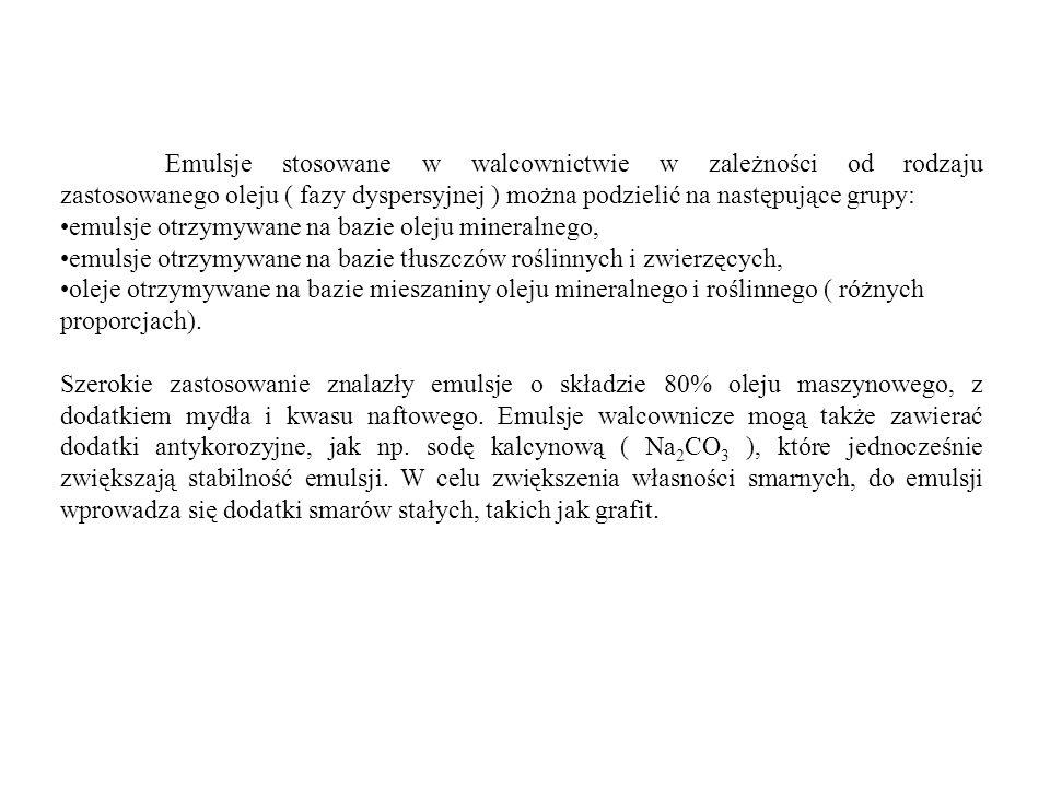 Emulsje stosowane w walcownictwie w zależności od rodzaju zastosowanego oleju ( fazy dyspersyjnej ) można podzielić na następujące grupy: emulsje otrz