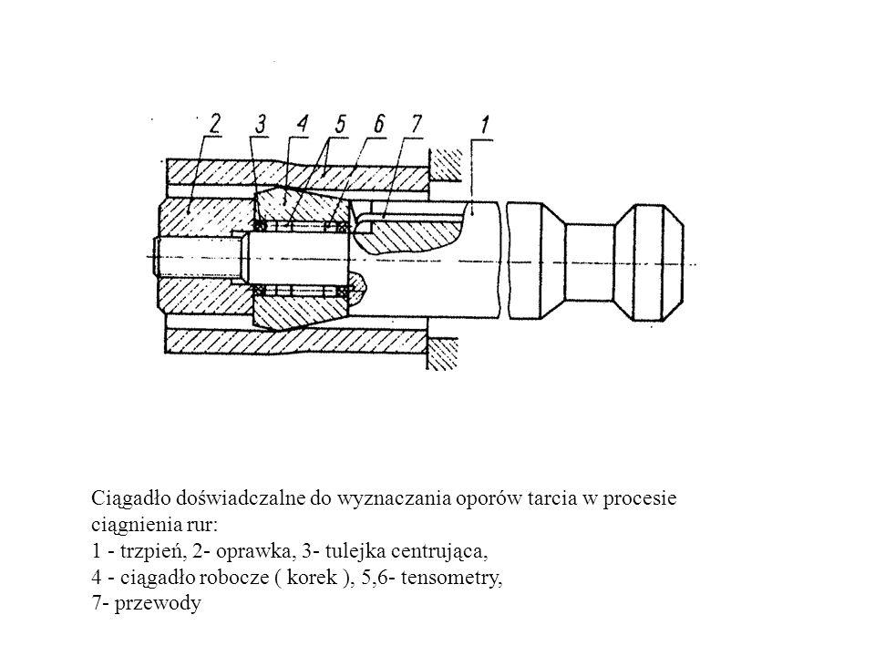 Ciągadło doświadczalne do wyznaczania oporów tarcia w procesie ciągnienia rur: 1 - trzpień, 2- oprawka, 3- tulejka centrująca, 4 - ciągadło robocze (