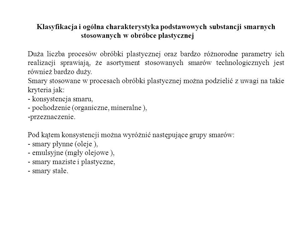 Klasyfikacja i ogólna charakterystyka podstawowych substancji smarnych stosowanych w obróbce plastycznej Duża liczba procesów obróbki plastycznej oraz