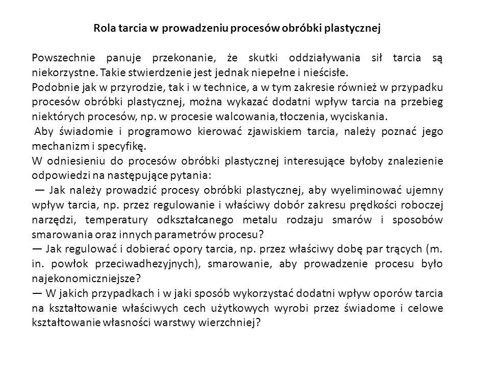 Rys.15. Schemat oddziaływania sit tarcia w procesie kucia matrycowego