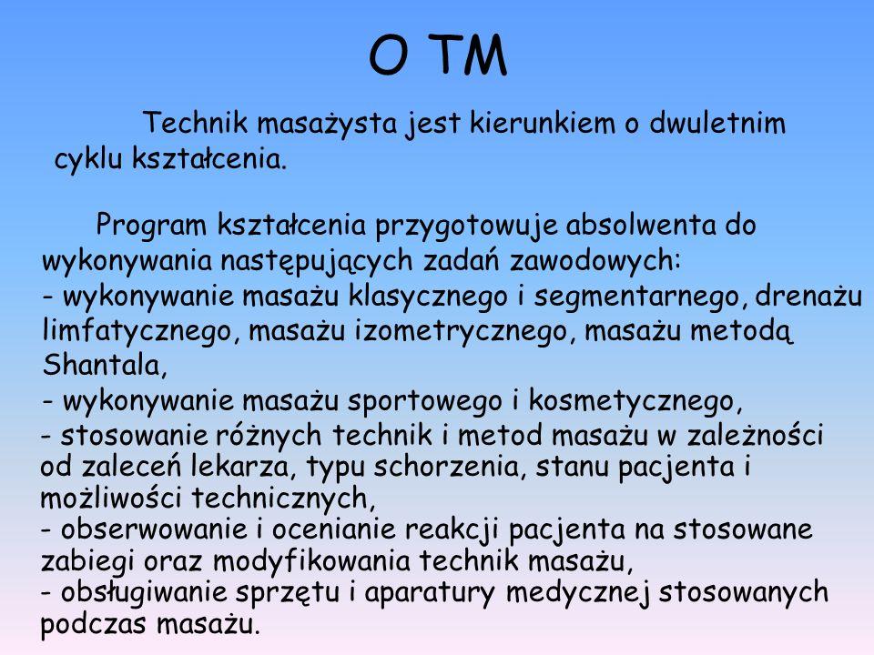 O TM Program kształcenia przygotowuje absolwenta do wykonywania następujących zadań zawodowych: - wykonywanie masażu klasycznego i segmentarnego, dren