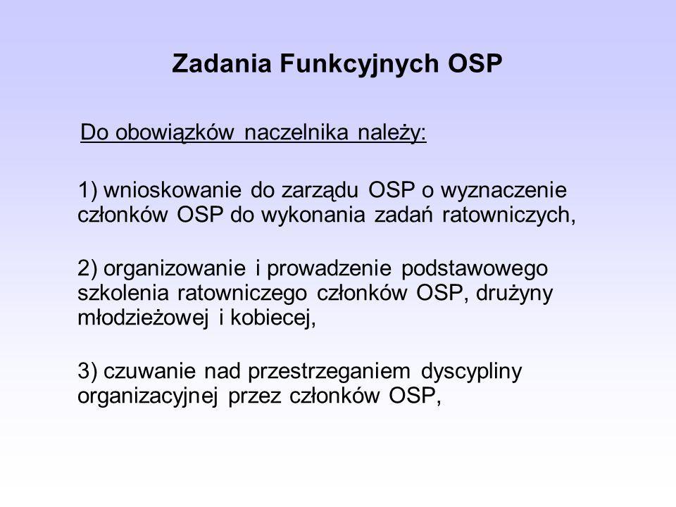 Zadania Funkcyjnych OSP Do obowiązków naczelnika należy: 1) wnioskowanie do zarządu OSP o wyznaczenie członków OSP do wykonania zadań ratowniczych, 2)