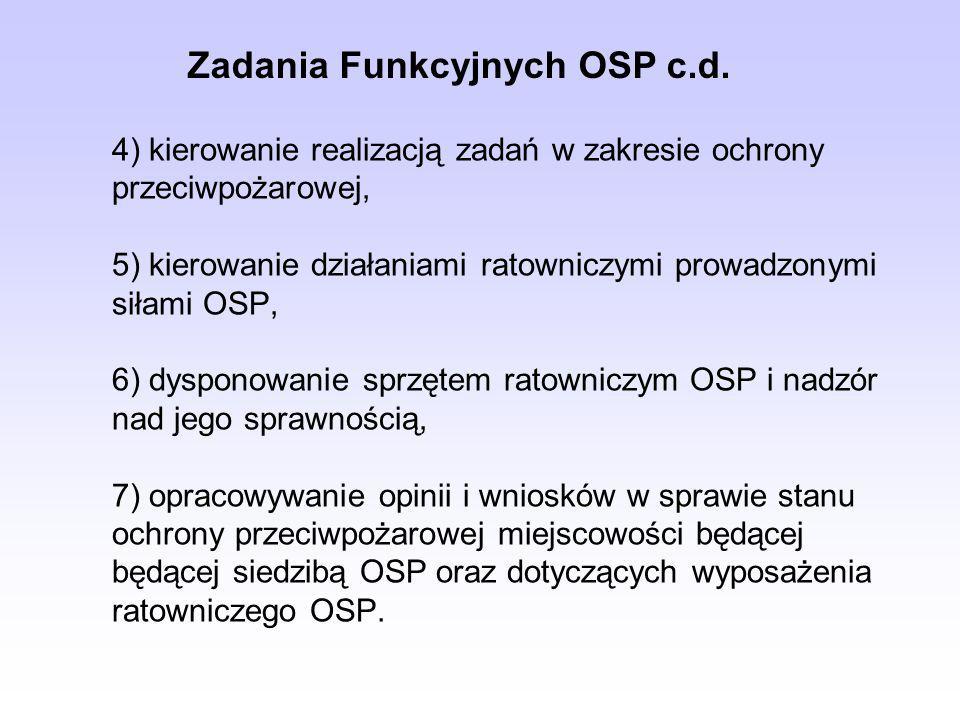 4) kierowanie realizacją zadań w zakresie ochrony przeciwpożarowej, 5) kierowanie działaniami ratowniczymi prowadzonymi siłami OSP, 6) dysponowanie sp