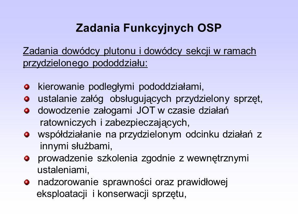 Zadania Funkcyjnych OSP Zadania dowódcy plutonu i dowódcy sekcji w ramach przydzielonego pododdziału: kierowanie podległymi pododdziałami, ustalanie z