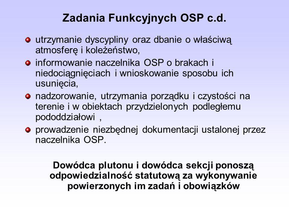 Zadania Funkcyjnych OSP c.d. utrzymanie dyscypliny oraz dbanie o właściwą atmosferę i koleżeństwo, informowanie naczelnika OSP o brakach i niedociągni